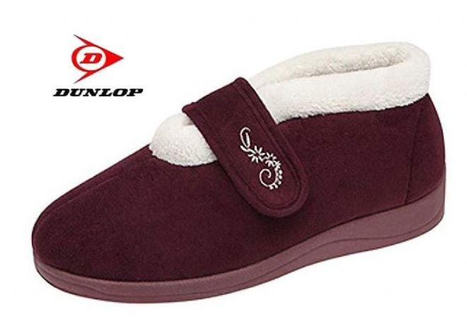 Dunlop DELORIS  Touch & Close Warm Lined  slippers  BURGUNDY